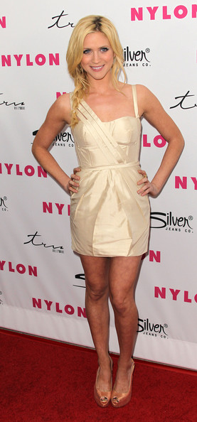 Brittany Snow Platform Pumps [sucker punch,clothing,cocktail dress,dress,shoulder,fashion model,hairstyle,joint,footwear,blond,leg,brittany snow,cast,cast,tru hollywood,hollywood,california,party,nylon magazine,anniversary issue party]