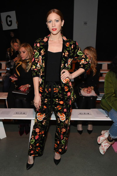 Brittany Snow Pantsuit [shows,the shows,fashion model,fashion,flooring,girl,carpet,fashion design,product,event,catwalk,haute couture,naeem khan - front row,brittany snow,naeem khan,front row,gallery i,new york city,spring studios,new york fashion week]