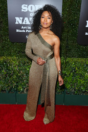 Angela Bassett looked sassy in a one-shoulder lurex jumpsuit at the West Coast debut of 'Soul of a Nation: Art in the Age of Black Power 1963-1983.'