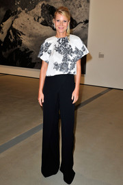 Gwyneth Paltrow opted for a monochrome rose-print blouse by Monique Lhuillier when she attended the Broad Museum black tie inaugural dinner.