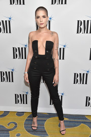 Halsey sealed off her look with black skinny-strap heels.