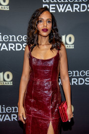Kerry Washington paired a red Hunting Season velvet clutch with a burgundy leather dress for the Broadway Loyalty Program Audience Rewards 10th anniversary celebration.