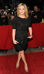Jane wears a brocade LBD to a Broadway opening in New York City.