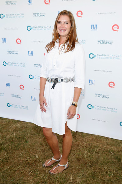 Brooke Shields Thong Sandals [qvc presents super,brooke shields,white,clothing,fashion,hairstyle,footwear,dress,long hair,street fashion,top,style,water mill,new york]