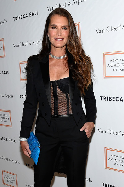 Brooke Shields Corset Top [suit,clothing,hairstyle,outerwear,formal wear,tuxedo,long hair,fashion,pantsuit,shoulder,brooke shields,new york city,new york academy of art,tribeca ball]
