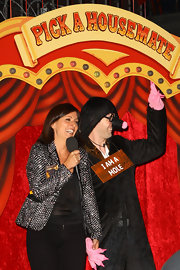 A crystal-studded blazer finished off Davina McCall's 'Big Brother' ensemble in glam style.