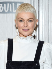 Serinda Swan rocked a blonde buzzcut at the Build Series.