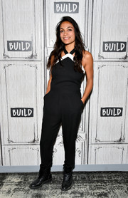 Rosario Dawson made an appearance on the Build Series wearing a black halterneck jumpsuit.