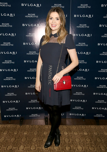 Carly Steel channeled her inner little girl with this Peter Pan-collar, sheer-yoke LBD at the Bulgari Honors Style event.