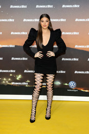 Hailee Steinfeld looked ravishing in a Balmain LBD with a plunging neckline and pointy shoulders at the special screening of 'Bumblebee' in Berlin.