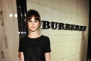 Actress Felicity Jones arrives at the Burberry Body Event hosted by Christopher Bailey and Rosie Huntington-Whiteley held at Burberry Beverly Hills on October 26, 2011 in Los Angeles, California.