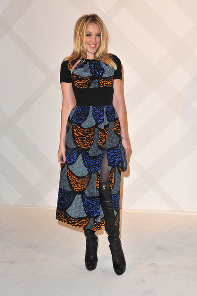 Ludivine Sagnier wore a print dress fresh off the Burberry Spring 2011 runway for the label's boutique launch in Paris.