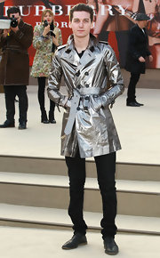 A metallic silver trench coat spiced up the old favorite on George Craig.