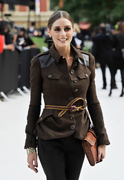 Spotted outside the Burberry Prorsum Spring 2013 show, Olivia Palermo accessorized her fitted tweed jacket with a slim leather belt by the label.