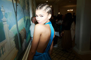 Zendaya Coleman wore her hair in braided cornrows pulled together into a low knot at the Buro 24/7 Family Presentation of 9 Fashion Designers from Russia, Ukraine and Kazakhstan in Paris.