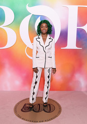 Skai Jackson looked oh-so-cool in a white Sara Battaglia suit with black trim and cutout pants at the #BoF500 2018.