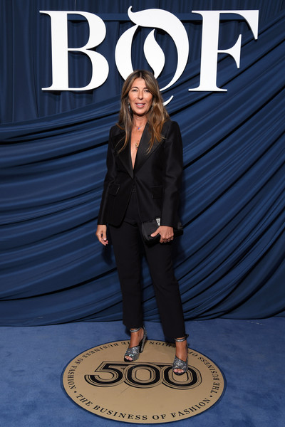 Nina Garcia added some sparkle with a pair of silver ankle-strap sandals.