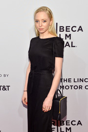Portia Doubleday arrived for the Tribeca Film Fest premiere of 'Buster's Mal Heart' carrying a boxy cross-body tote.