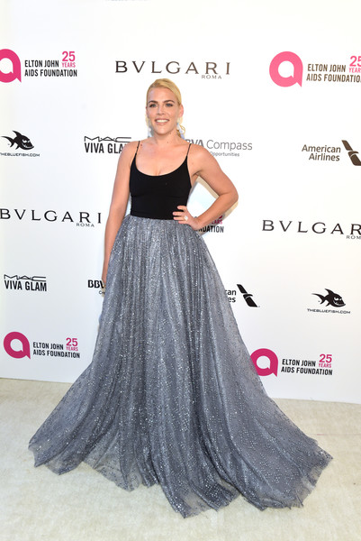 Busy Philipps Princess Gown [flooring,dress,fashion model,carpet,gown,fashion,girl,red carpet,long hair,cocktail dress,arrivals,busy philipps,academy awards,west hollywood park,california,the city,elton john aids foundation,viewing party,academy awards viewing party]