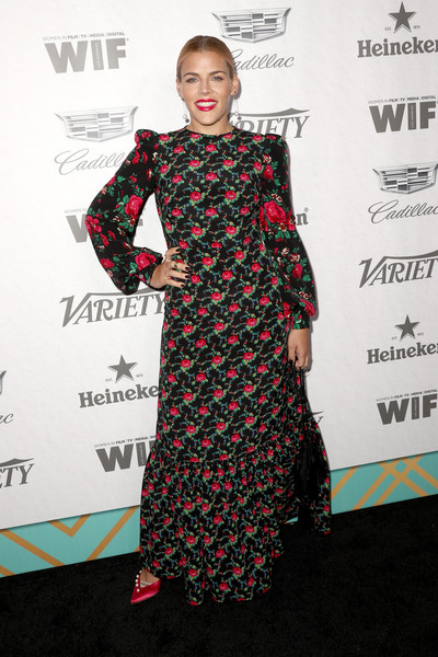 Busy Philipps Print Dress [variety and women in film,variety and women in films 2018 pre-emmy celebration,clothing,dress,carpet,red carpet,fashion,hairstyle,flooring,premiere,fashion design,shoulder,busy philipps,arrivals,west hollywood,california,cecconi,2018 pre-emmy celebration]