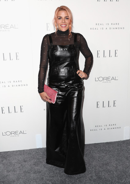 Busy Philipps Overalls [elle,clothing,dress,fashion,hairstyle,carpet,latex clothing,fashion design,leather,footwear,flooring,los angeles,four seasons hotel,california,beverly hills,24th annual women in hollywood celebration - arrivals,24th annual women in hollywood celebration,busy philipps]