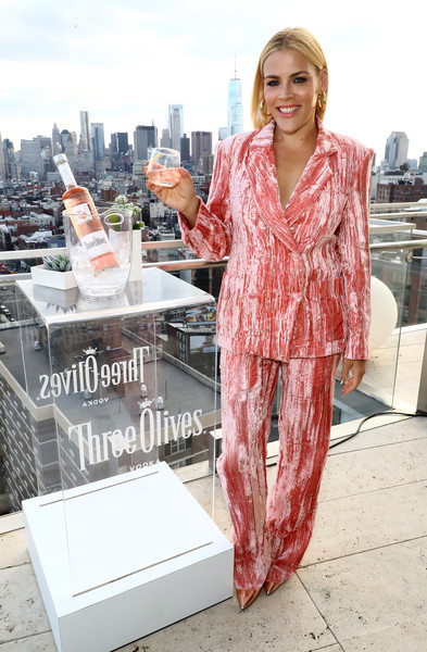Busy Philipps Pantsuit [clothing,product,fashion,pink,nightwear,dress,fashion design,suit,formal wear,outerwear,three olives ros\u00e9 vodka,busy philipps,the standard east village,nyc,event,olives rose vodka launch]