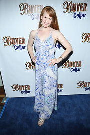 Kate Baldwin chose an abstract print maxi dress for her look at the opening night of 'Buyer & Cellar.'