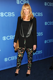 Toni Collette played with proportions when she donned this black blazer with leather lapels.
