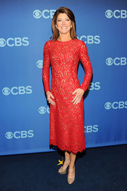 Norah O'Donnell chose a long-sleeve red lace dress for her look at the CBS Upfront event in NYC.