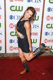 Kathleen Rose Perkins kicked up her heels at the TCA Party in a pair of intricately detailed cowboy boots.