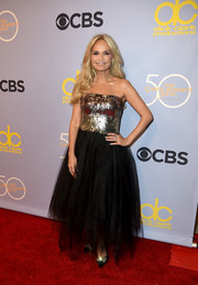 Kristin Chenoweth looked like a beauty pageant winner in this Cristina Ottaviano strapless gown, featuring a bedazzled bodice and a tulle skirt, at 'The Carol Burnett Show 50th Anniversary Special.'