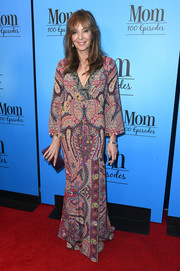 Allison Janney went boho in a paisley-print maxi dress by Etro for the 'Mom' 100 episodes celebration.