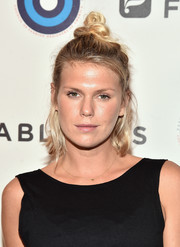 Alexandra Richards fixed her hair into a knotted half-up 'do for the CFDA and Fabletics event.