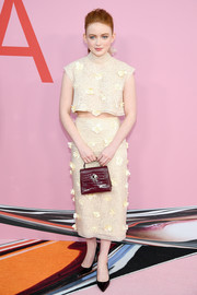 Sadie Sink kept it cute and youthful in a flower-appliqued crop-top by Kate Spade at the 2019 CFDA Fashion Awards.