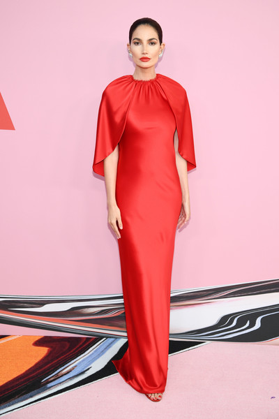 Lily Aldridge looked regal in a caped red column dress by Brandon Maxwell at the 2019 CFDA Fashion Awards.