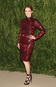 Julianne Moore was a jaw dropper in a long-sleeve, high-neck, beaded red cocktail dress by Tom Ford during the Fashion Fund finalists celebration.