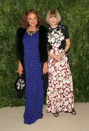 Diane von Furstenberg looked regal in her beaded blue column dress.