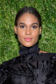 Cindy Bruna sported a neat center-parted ponytail at the CFDA/Vogue Fashion Fund 15th anniversary event.