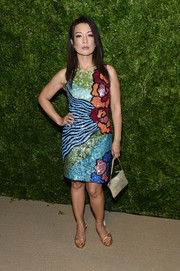 Ming-Na Wen looked exuberant in a graphic sequined cocktail dress by Georges Chakra at the 2019 CFDA/Vogue Fashion Fund Awards.