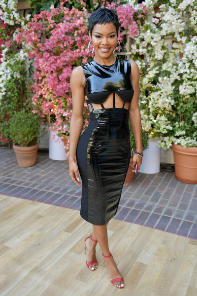 Teyana Taylor grabbed stares in a black latex cutout dress by Chromat at the CFDA/Vogue Fashion Fund show and tea.