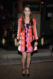 Hailee Steinfeld went for a playfully chic look with this multicolored Valentino leather dress during the 'Begin Again' dinner.