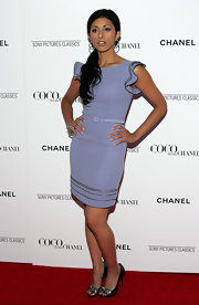 Reshma Shetty looked oh-so-lovely at the 'Coco Before Chanel' premiere in this ultra-feminine lilac cocktail dress.
