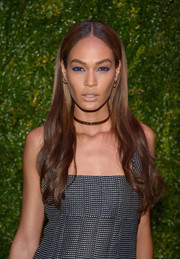 Joan Smalls made her eyes pop with lots of bright blue liner.
