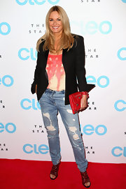 Charlotte Dason chose a pair of baggy, ripped jeans to give her a slightly edgy look on the red carpet.