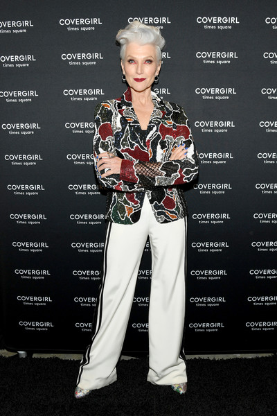 Maye Musk looked cool in a sequined and beaded jacket by Naeem Khan at the CoverGirl flagship store opening.