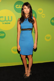 Nina chose this electric blue sheath dress with a studded belt for her figure-flattering look at CW's Upfront Event in NYC.