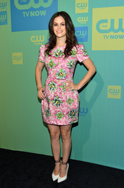 Rachel Bilson kept it girly in a pink and green floral frock by Mary Katrantzou at the CW Network's Upfront Presentation.