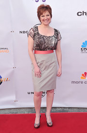 Caroline Manzo looked fiercely stylish in a snakeskin-print blouse and pencil skirt at the Evening with NBC Universal event.