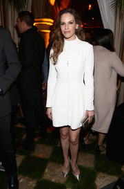 Hilary Swank kept it simple yet classy in a white button-up dress by Emilia Wickstead at the Cadillac Oscar Week celebration.