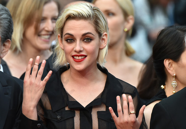 Kristen Stewart accessorized with a simple gold ring at the Cannes Film Festival screening of 'Cafe Society.'